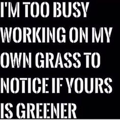 I'm too busy working on my own grass to notice if yours is greener. Brilliant life quote to live by!