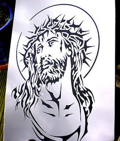 high detail airbrush stencil jesus FREE UK POSTAGE