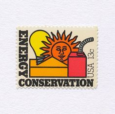 Graphilately: Energy Conservation (13c). USA, 1977. Design: Terrance McCaffrey