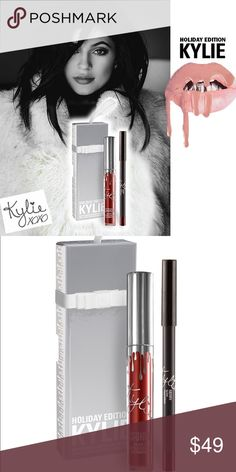 HOLIDAY EDITION KYLIE COSMETICS - MERRY   LIP KIT Merry   Lip Kit   Contains: 1 Matte Liquid Lipstick (0.11 fl oz./oz. liq / 3.25 ml) and 1 Pencil Lip Liner (net wt./ poids net  .03 oz/ 1.0g).  The #KylieCosmetics LipKit is your secret weapon to create the perfect 'Kylie Lip.' Each Lip Kit comes with a Matte Liquid Lipstick and matching Lip Liner. This special shade is infused with diamond powder and packaged in limited edition silver packaging for the holiday season. Merry is a deepened…