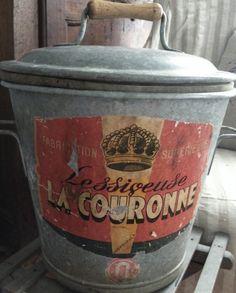 French Zinc Pail - Crown Label FleaingFrance Brocante Society