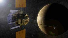PHOTO: An artist concept of the Messenger spacecraft in orbit around planet Mercury.