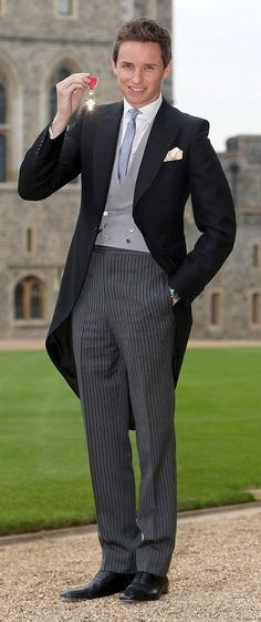 The lovely Eddie Redmayne showing you gents how to wear tails! Such a classic style looks fresh and modern again, combing grey and silver tones to create a fantastic look for your wedding suit.