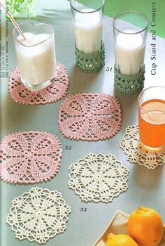 Filet Crochet Coasters. This link has tons of patterns, but, I guess I am going to have to learn to read diagram patterns.