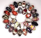 30  Authentic Pandora 925 ale silver beads glass murano red black clear white