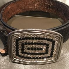 RHINESTONE COWBOY BELT Authentic black leather, desing on The belt, stones on it. Open to offers Rhinestone cowboy Accessories Belts