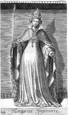 Margaret II, Countess of Hainault (1311 - 1356). Holy Roman Empress from 1328 until her husband died in 1347. She was married to Louis IV.
