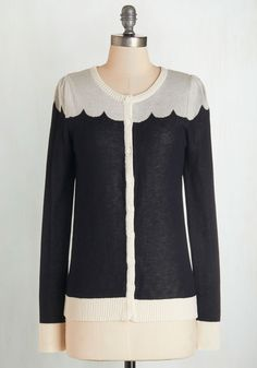 Paris Cafe Cardigan in Noir. Even an exquisitely brewed cafe au lait and a fine, flaky croissant cant hold a candle to this adorable cardi - a ModCloth-exclusive from Bea  Dot! #black #modcloth