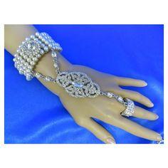 Chain Bracelet, Ring Bracelet, Hand Bracelet, Finger Bracelet, Slave... ($35) ❤ liked on Polyvore featuring jewelry, bracelets, chains jewelry, pearl bangles, flapper jewelry, pearl jewellery and formal jewelry