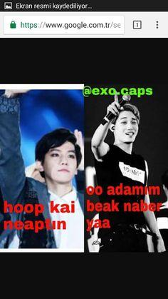 Read kaibaek from the story EXO CAPS by Yonnie_forever with reads. Baekhyun, Cringe, Karma, Funny Jokes, Love You, Kpop, Memes, Te Amo, Husky Jokes