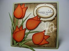 #punchart Easter tulips made with SU bird punch   visit me at My Personal blog: http://stampingwithbibiana.blogspot.com/