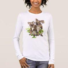 Cute Little Koala Bear Animal Art Long Sleeve T-Shirt - animal gift ideas animals and pets diy customize