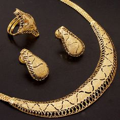 Gold plated Necklace+earrings+ring combo....inspired by the fine art of Italian jewelry making