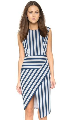 Mason by Michelle Mason Asymmetrical Stripe Dress