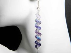 "Purple Swarovski Crystal Earrings Violet, Tanzanite, Purple Velvet Goth Spiral Beadweaving - ""Shades of Twilight"" by Whimsy Beading"
