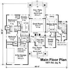 First Floor Plan of Craftsman   House Plan 42652 I like the idea of a study/office near the master.  Would it be better by the kitchen?