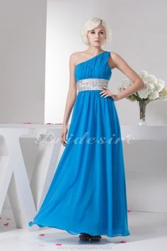 A-line One Shoulder Floor-length Sleeveless Chiffon Dress - $92.99