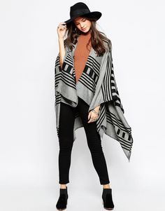 Cape by Pieces Fine knit Open front Oversized fit - falls generously over the body Machine wash 100% Acrylic