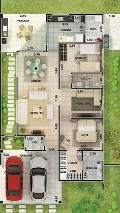 Buena distribución casa de 2 cocheras y 3 dormitorios frente de 12m Dream House Plans, Bungalow House Plans, Modern House Plans, Small House Plans, House Floor Plans, Modern House Design, Sims House, House Blueprints, Story House