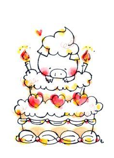 ケーキぶたちゃん Kawaii Pig, Face Doodles, Japanese Funny, Pig Drawing, Japanese Drawings, Pig Illustration, Funny Pigs, Pig Art, Mini Pig