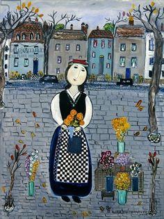 'The flower Seller' by Dora Holzhandler oil on canvas 1980's