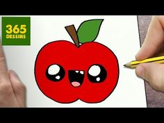 COMMENT DESSINER POMME KAWAII ÉTAPE PAR ÉTAPE – Dessins kawaii facile - YouTube