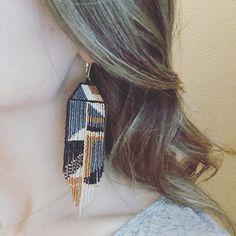 "Seed Beaded Fringe Earrings, Name: ""Ear Art"" Seed Bead Earrings, Fringe Earrings, Cute Earrings, Beautiful Earrings, Beaded Earrings, Statement Earrings, Seed Beads, Gold Earrings, Hand Made"