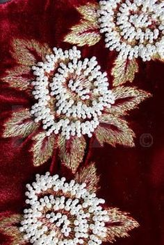 Detail of the embroidery on a dress from princees Diana.