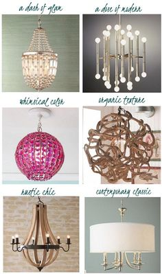 NOTE: ******FORMULAS for correct size of chandelier--Dining RM:  chandelier is one half the width of the table (But bigger can make a good statement)  For LIVING ROOMS, FAMILY rooms, bedrooms:  Add the width & length of the room together in feet, & convert that figure to inches to get the correct width of the chandelier. EX - Room measures 10' x 13' : Add 10 + 13 to get 23 INCHES in diameter