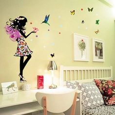 Beautiful Butterfly Elf http://walldecordeals.com/product/beautiful-butterfly-elf-arts-wall-sticker-for-kids-rooms-home-decor-backdrop-wall/