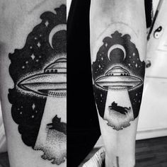 miedoalvacio: UFO Abduction Dotwork Tattoo Macarena Sepúlveda 2014 not a cat it would have to be something cooler