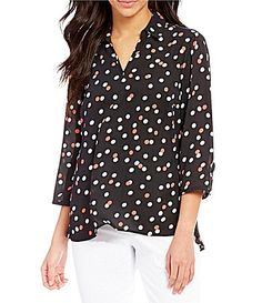 4f011fff7c29e0 Investments Petites Collared V-Neck 3 4 Sleeve Printed Top