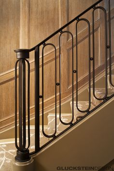 Gluckstein Home - Stairs Balusters, Modern Stair Railing, Balcony Railing Design, Iron Stair Railing, Wrought Iron Stairs, Modern Stairs, Bannister, Foyer Staircase, Staircase Design