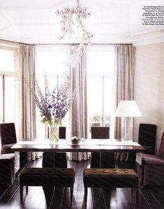 Lilac and chocolate dining room