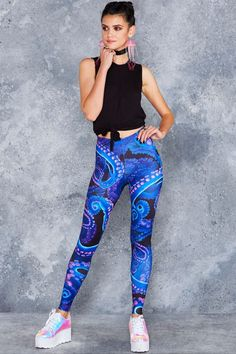 4e920d40e31e4b NEON OCTOPUS HWMF LEGGINGS - Limited - Neon Abyss (NEW) - Collections Black  Milk