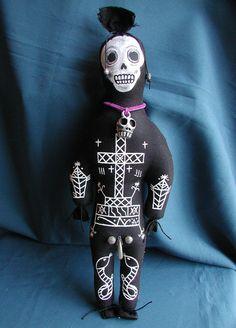 Baron Samedi Voodoo Hoodoo Doll Handsewn Handpainted Stuffed With Herbs To Remove Negative Energy