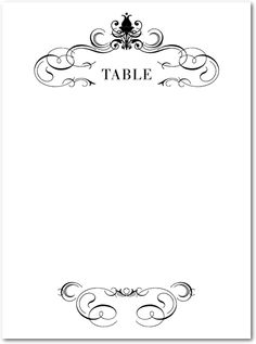 Wedding Table Number Card Template - 4x6 Flat - Vintage Scrolls ...
