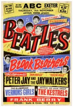 Sell original Beatles & Rock n roll Memorabilia RISK FREE! Contact for a no obligation quote on your Beatles signatures, posters, records etc. Beatles Poster, Les Beatles, Gig Poster, Vintage Concert Posters, Vintage Posters, Retro Posters, Tour Posters, Music Posters, Theatre Posters