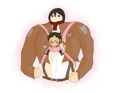 Mikasa Ackerman and Eren Jaeger off fat sorry that is priceless