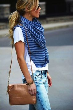 Cute layered outfit! Holey boyfriend jeans, white tee and striped scarf. Women's casual fashion clothing outfit for fall