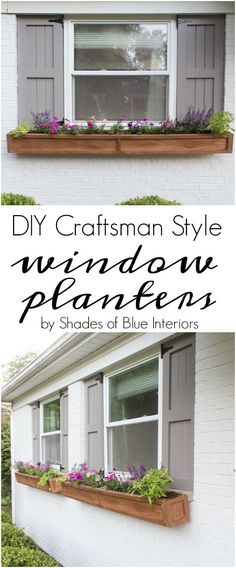 DIY Cedar Window Planters - Shades of Blue InteriorsYou can find Window boxes and more on our website.DIY Cedar Window Planters - Shades of Blue Interiors Window Shutters Exterior, Cedar Shutters, Diy Shutters, Windows With Shutters, Outdoor Shutters, Blue Shutters, Planters For Shade, Window Planter Boxes, Diy Planter Box