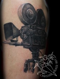 Old Vintage Cinema Camera Tattoo Design For men