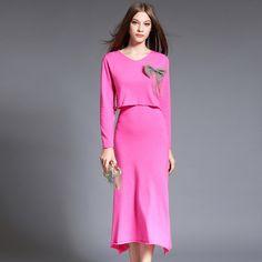 Winter New Fashion Ladies \' Long Sleeve Knit Sweater Suits Aristocratic Women Bandage Dress