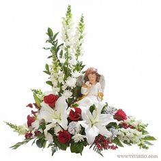 Heavenly Peace with angel - Flowers, Plants, Gift Baskets from VIVIANO Flower Shop, Detroit MI Florist Funeral Floral Arrangements, Easter Flower Arrangements, Rose Arrangements, Church Flowers, Funeral Flowers, Wedding Flowers, Cemetery Decorations, Memorial Flowers, Funeral Planning