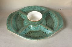 Poole Pottery Green Sea Crest Party Dish by Eddystone Party Dishes, Dip, Tea Pots, 1960s, Handmade Items, Pottery, Ceramics, Glaze, Salsa