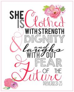 8x10 Scripture Print - Bible Verse Art - Proverbs 31:25)