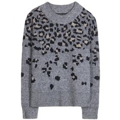 Rag & Bone Isadora Wool-Blend Sweater ($255) ❤ liked on Polyvore featuring tops, sweaters, grey, gray sweater, leopard print tops, grey top, grey sweater and leopard top