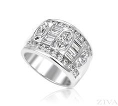 Anniversary Band with Baguette, Marquise & Round Diamonds