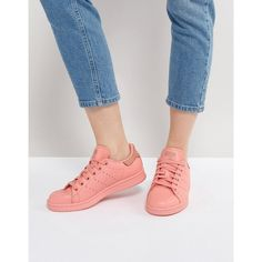 adidas Originals Coral Stan Smith Trainers (495 MYR) ❤ liked on Polyvore featuring shoes, sneakers, orange, stretch sneakers, lace up shoes, stretch trainer, laced up shoes and lace up sneakers