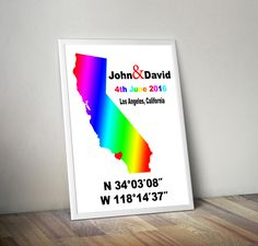 Gay Wedding Gifts - Custom Coordinates - Coordinates Sign - Gifts For Gay Men - Lesbian Wedding - Lgbt Marriage - Paper Gift Ideas - pinned by pin4etsy.com
